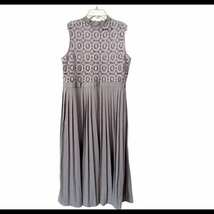 Little Mistress Grey Pleated Lace Sleeveless Dress